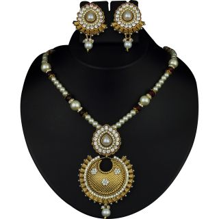 Kriaa Glorious Design Pearl Pendant Set in Maroon  -  2102605