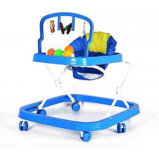 Baby Walker - Height Adjustable, Musical, Soft Cushion (Dark Blue)