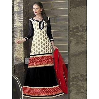 Suchi Fashion Black and Cream with Heavy Embroidery Border Georgette and Jacquard Semi Stitched Lehenga and Kurti