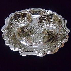 Silver Finish Haldi KumkumThali/Aarti PoojaThali /Religious Gift Diwali Navratri