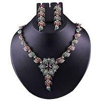 Kriaa Graceful Design Necklace Set in Purple & Green  -  2102803
