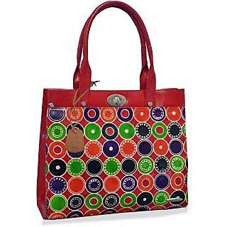 arpera Geometric Genuine Leather Office Bag  red C11524-3A