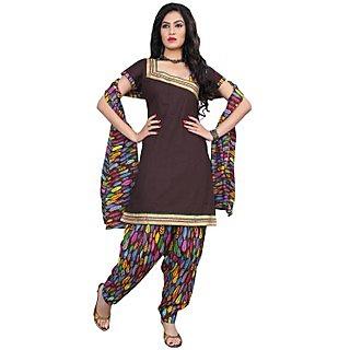 Brown Cotton Printed Unstitch Stunning Salwar Suit