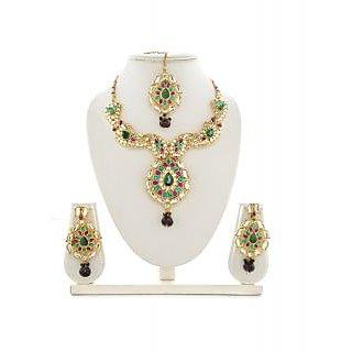 Panini Alloy Multicoloured Necklace Set With Mangtikka_2589