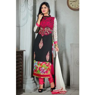 Ethnicbasket Party Wear Black & Dark Pink Salwar Kameez.