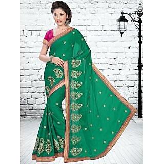 Suchi Fashion Green Heavy Embroidery, Diamond Work and Border Work Georgette Saree