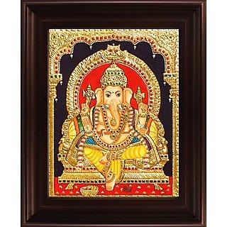 Myangadi Yellow Dhoti Ganesha Tanjore Painting Myaz016-S7