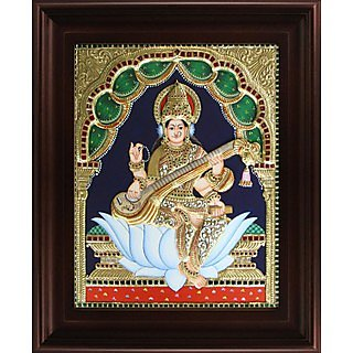 Myangadi Saraswathi Tanjore Painting Myaz130-S8