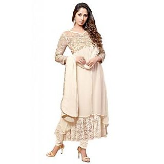 Suchi Fashion Heavy Embroidery White Georgette Semi stitched Party Wear Anarkali Suit