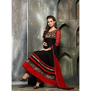 Suchi Fashion Black and Red  colored Cotton embroidered  Semi Stitched Suit
