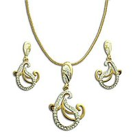 Dg Jewels 24k Gold Plated Bollywood Dazzling Pendant Set-CPS8039