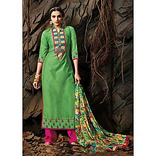 Suchi Fashion Green and Pink Embroidery Pure Banarsi Chanderi Straight Fit Semi Stitched Suit with Printed Dupatta