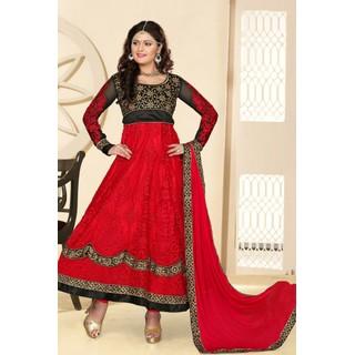 Suchi Fashion Red and Black Heavy Embroidery Net and Velvet Semi Stitched Designer Anarkali Suit/ Lehenga