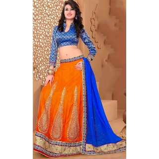 Suchi Fashion Shaded Orange and Royal Blue Embroidery, Diamond and Pearl Work with Heavy Border Georgette Semi Stitched Lehenga