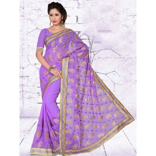 Suchi Fashion Light Purple with Gloden and Self Embroidery Diamond Work and Lace Work Chiffon Designer Saree