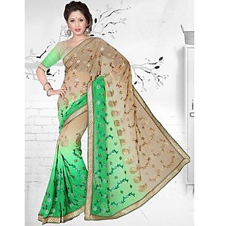 Suchi Fashion Green and Light Brown Embroidery, Diamond and Lace Work Georgette Party Wear Saree