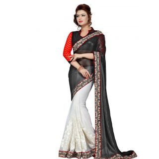 Suchi Fashion White and Black Patli Embroidery and Border Work Shimmer Chiffon and Georgette Half Half Saree