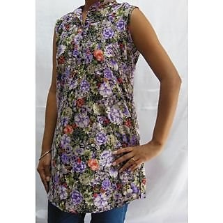 Shree Floral Print Top 009P Purple Red