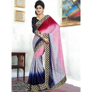 Suchi Fashion Shaded with Embroidery Border Designer Chiffon Saree