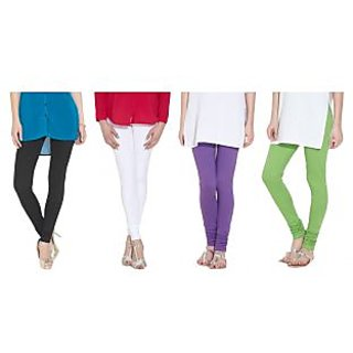 Madona Churidar Leggings BlackWhitePurpleGreen Pack of 4 (Free Size)