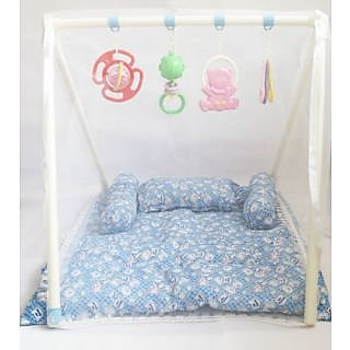 Sunny Baby Bed  Gym with Mosquito Net for Kids  Baby (Sky Blue)