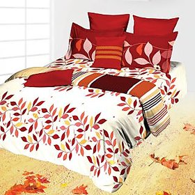 Tangerine Scarlet Floral White And Maroon Sunset Bed Set