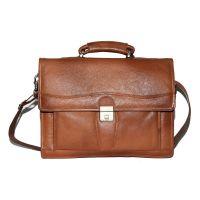 Comfort 15 Inch Tan Leather Shoulder Laptop Bag For Men And Women EL79