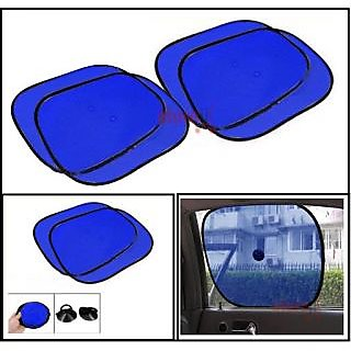 Car Side Window Sunshades Stick On Sun Shade - Set Of 4 Pcs (Blue)
