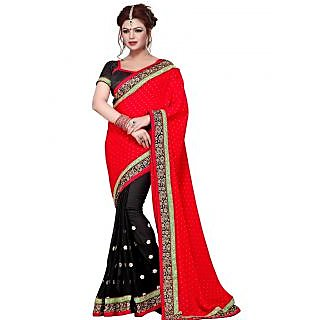 Suchi Fashion Black and Red Patli Embroidery, Border Work and Self Booti Chiffon Saree