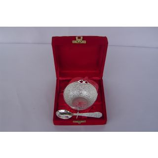 Brass Silver Plated Bowl Apple Shape
