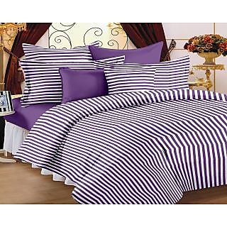 Story Home Purple 100 Cotton Magic 1 Double Bedsheet With 2 Pillow Cover-MG1096