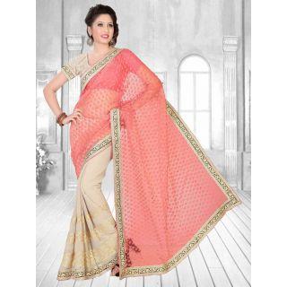 Suchi Fashion Peach and Light Grey Heavy Embroidery Patli, Diamond Work and Border Chiffon Saree