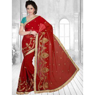 Suchi Fashion Maroon Heavy Embroidery and Diamond Work and Border Work Designer Georgette Saree