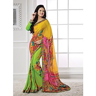 Vastrani Yellow & Green  Coloured  Georgette Saree 48S1478