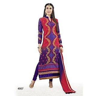 Khushali Women's Purple Georgette Straight Unstitched Salwar Suit Material