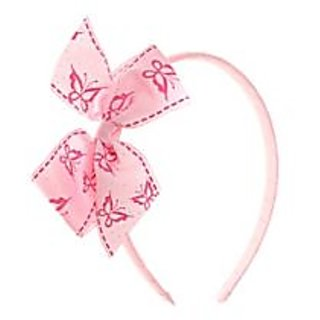 Stol'n  Hairband With Butterfly Dotted Print Bow Light Pink