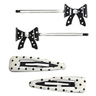 Stol'n  Set Of 2 Dotted Tic Tac Pins & 2 Bow Shape Hair Pins Black & White