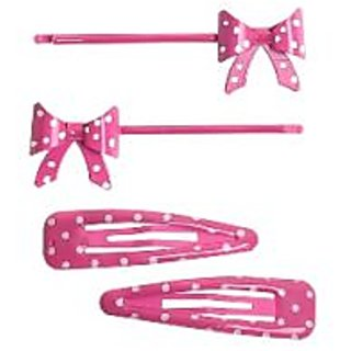 Stol'n  Set Of 2 Dotted Tic Tac Pins & 2 Bow Shape Hair Pins Pink