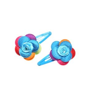 Stol'n  Blue Tic Tac Pins With Stone Studded Multi Colour Flower