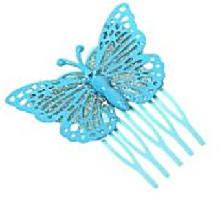 Stol'n  Stone Studded Glitter Butterfly Hair Pin Blue
