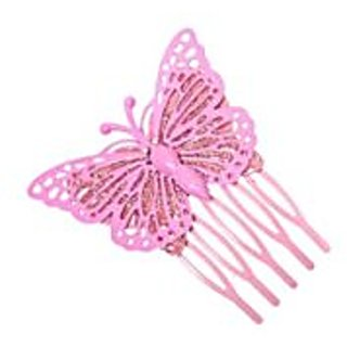 Stol'n  Stone Studded Glitter Butterfly Hair Pin Pink
