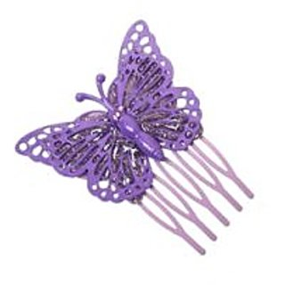 Stol'n  Stone Studded Glitter Butterfly Hair Pin Purple