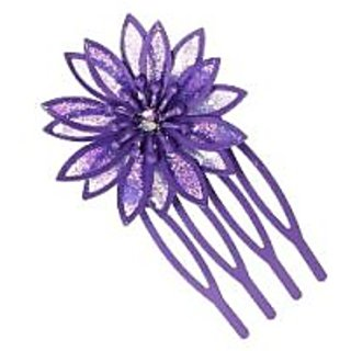 Stol'n  Stone Studded Flower Hair Pin Purple