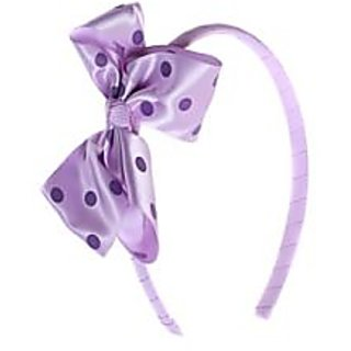 Stol'n  Bow Shape Hairband Dotted Print Purple