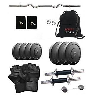 Bodyfit  25 Kg Home Gym, 3ft Curl Rod, 2 X 14 Inch Dumbell Rods, Curl Rod, Bag