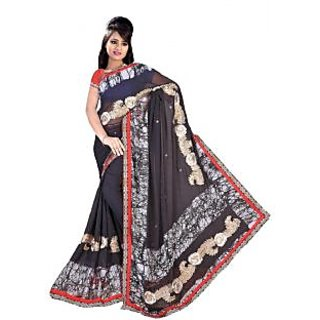 Suchi Fashion Grey Print and Embroidery Patch Work Georgette Saree