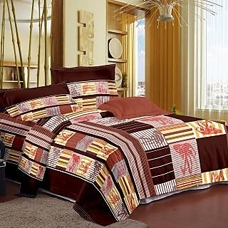 Story Home Brown 100 Cotton Magic 1 Double Bedsheet With 2 Pillow Cover-MG1276