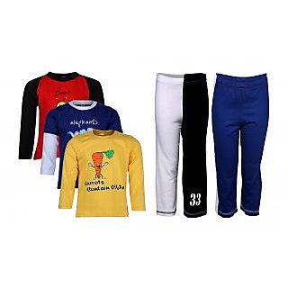 Goodway Pack Of 5 -Boys Did You Know Col 3Pack Tee & Boys 2Pack Fashion Full Pant Combo Pack (JB2-CMB3+LSL-DYK-3-COL)