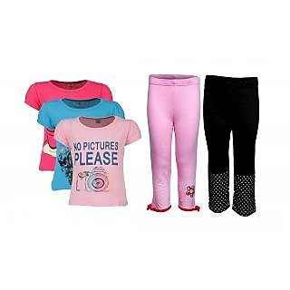 Goodway Pack Of 5 Girls Style 3Pack Tee-Col & Girls 2Pack Fashion Full Pant Combo Pack (JG2-CMB3+STY-4-COL)