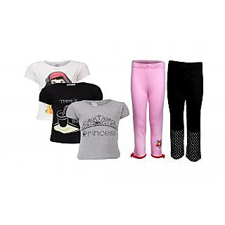 Goodway Pack Of 5 Girls Style 3Pack Tee-Bwg & Girls 2Pack Fashion Full Pant Combo Pack (JG2-CMB3+STY-6-BWG)